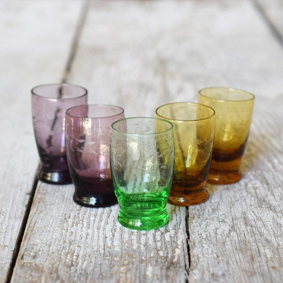 Choose your color! I've got one emerald, two amethyst, and two amber glasses.
