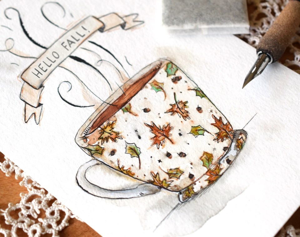 Cozy Autumn Teacup Illustration Tutorial | The Postman's Knock