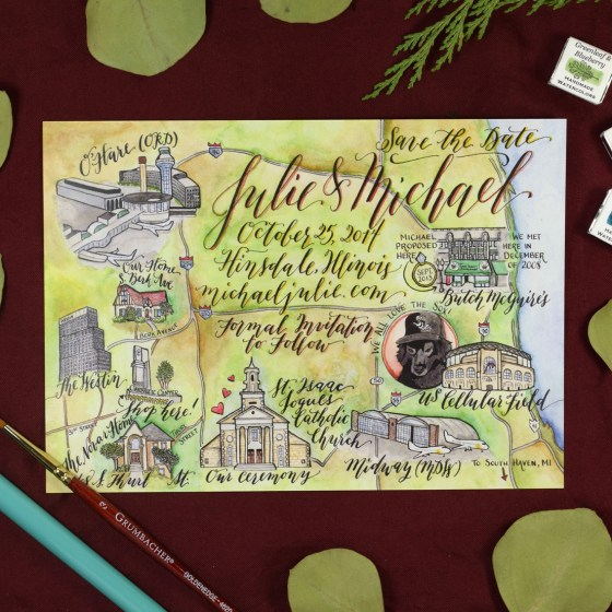 Ziller Soot Black is my go-to for projects like this watercolor map! I use Soot Black to write the calligraphy and make the illustrations first, then I paint over everything with watercolor. No smudging!