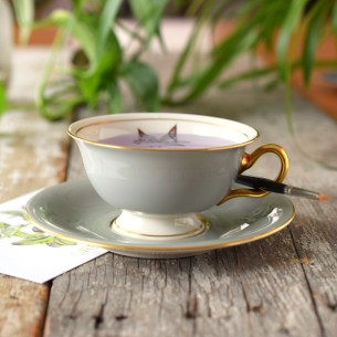 """This """"Woodmere"""" art water footed cup + saucer set is the height of elegance!"""