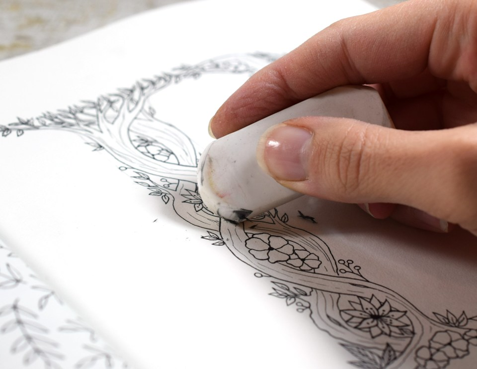Erasing pencil lines