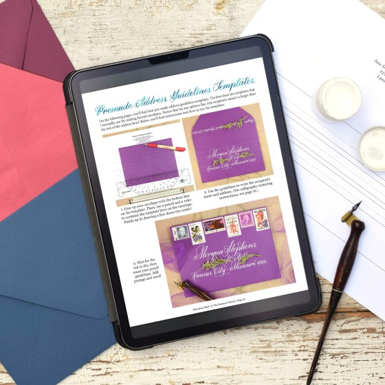 "Every beautiful envelope starts with guidelines! The ""Marvelous Mail"" eBook includes detailed instructions over how to make envelope guidelines templates. In addition, you'll find four printable premade envelope guidelines templates!"