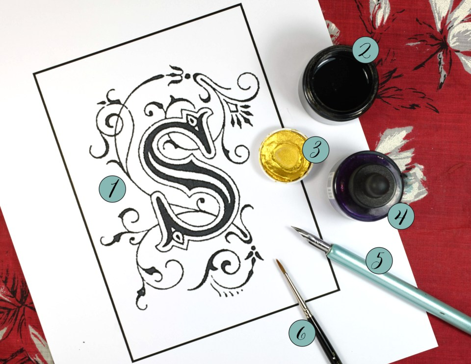 Supplies Needed for the Illuminated Letter Tutorial