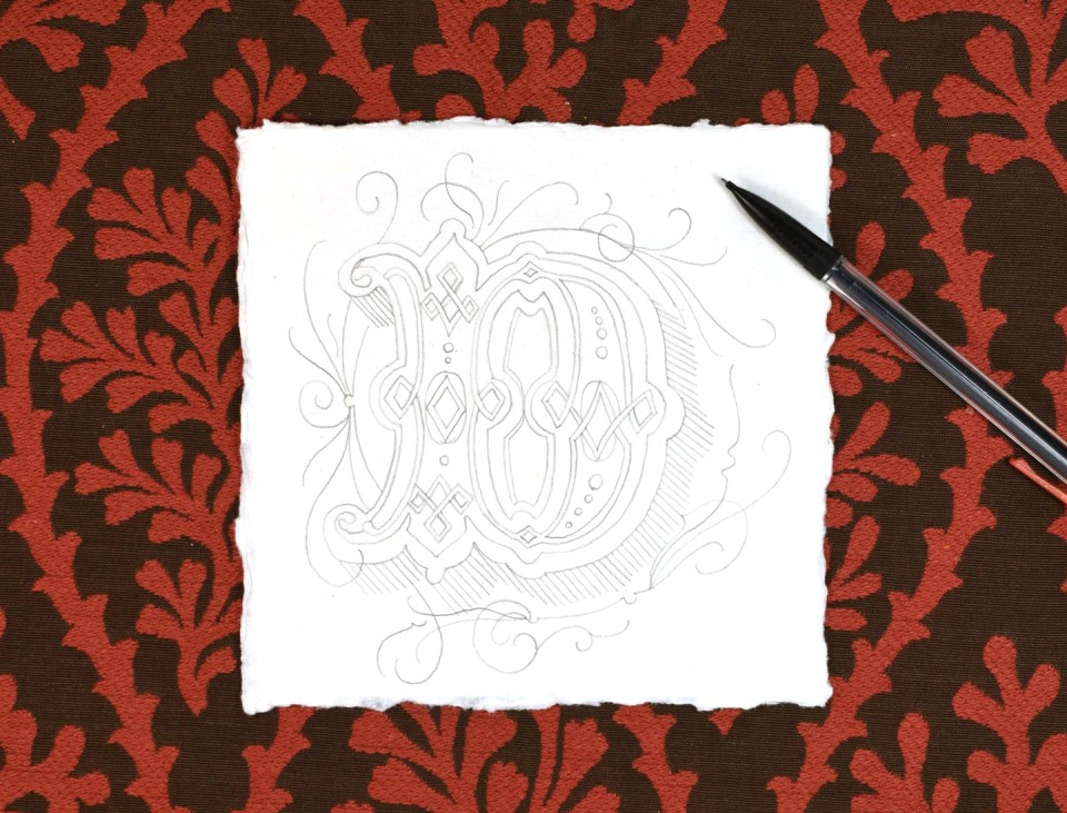 Pencil Outline of an Illuminated Letter