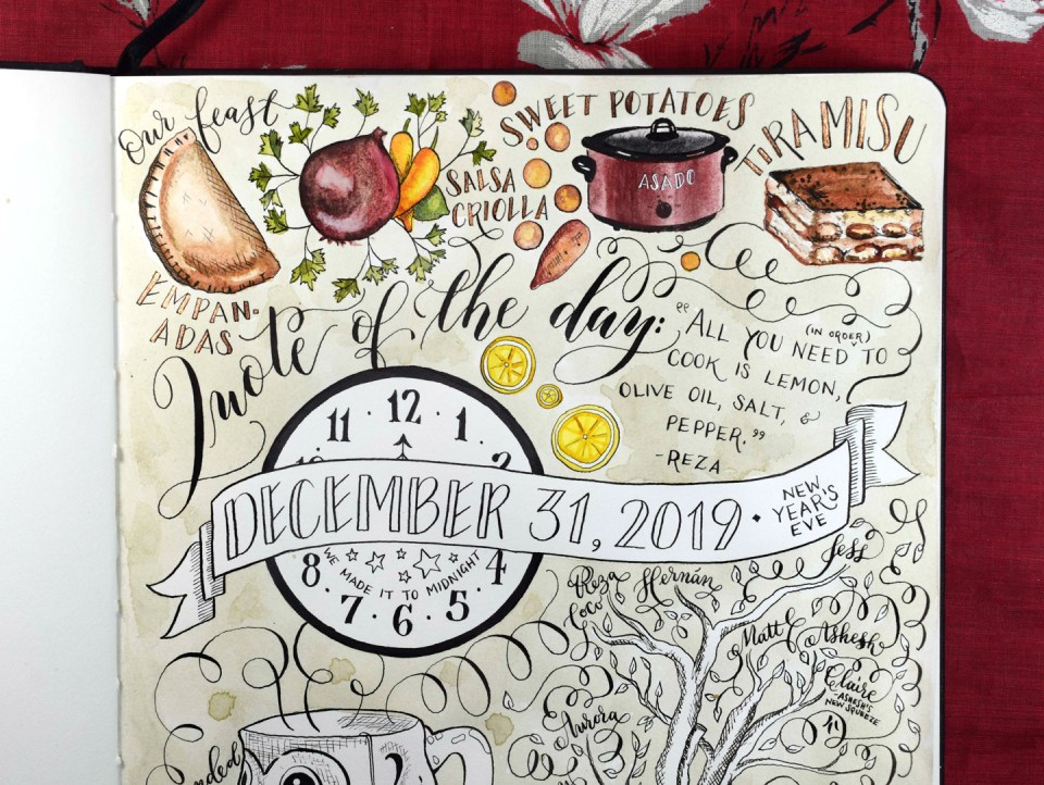 """How to Add Color to Your """"Day in the Life"""" Sketchbook Layout"""