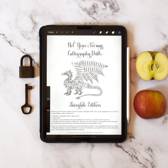 """The """"Not Your Average Calligraphy Drills: Fairytale Edition"""" packet is now available as a PROCREATE worksheet!"""