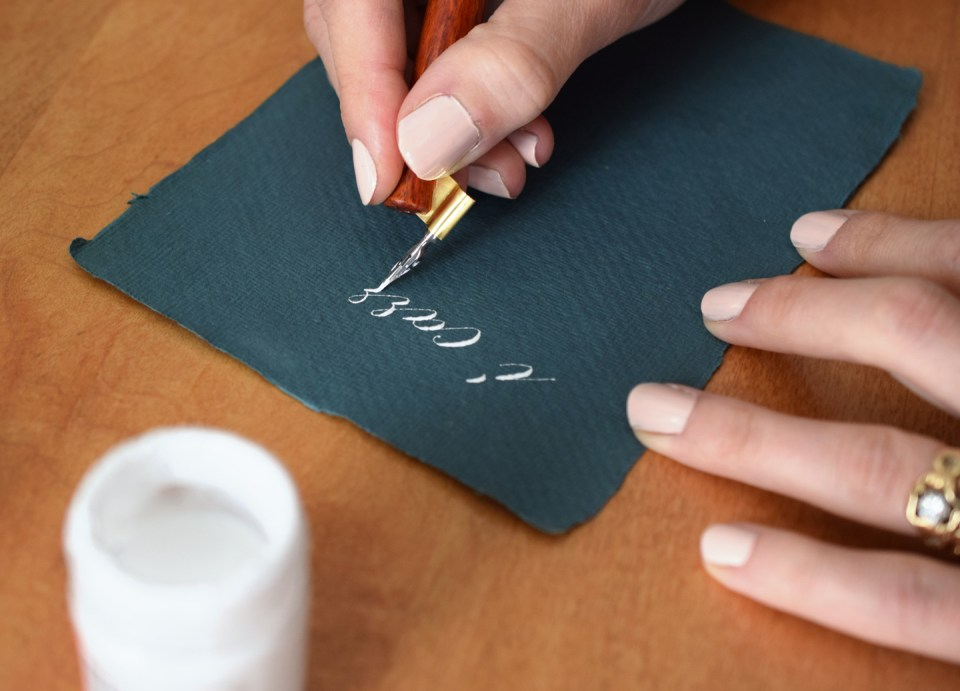 Solving calligraphy problems by using brass-flanged oblique pens!