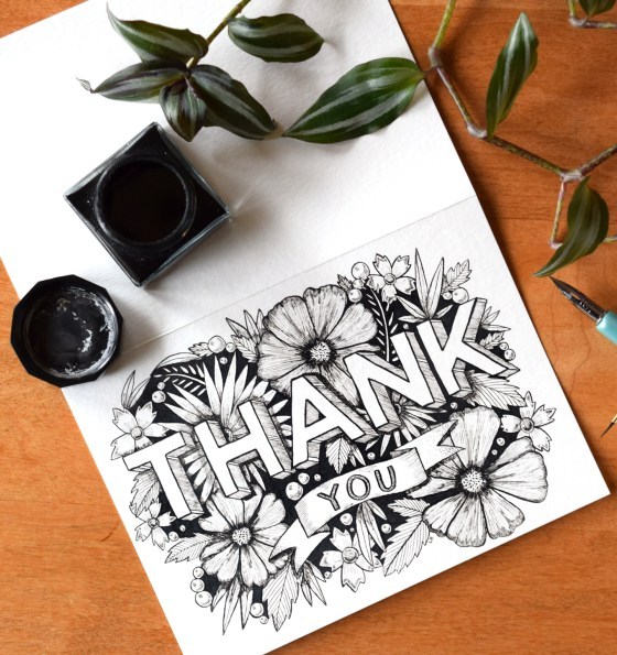 This hand-drawn thank you card looks gorgeous printed on light-colored cardstock.