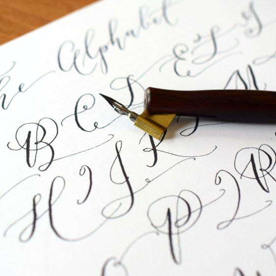 The worksheet includes general alphabet letterforms. Please feel free to vary these forms from word to word! Elongated strokes or added flourishes are never out of place.