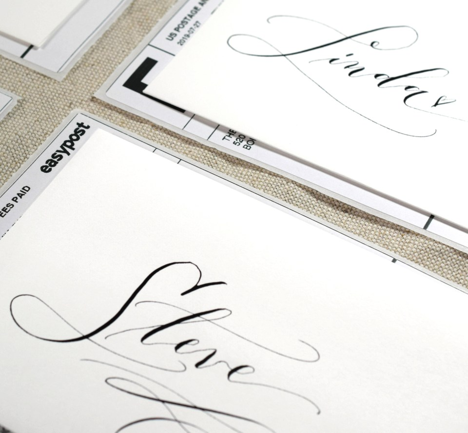 Cocktail Casual Calligraphy on Envelopes