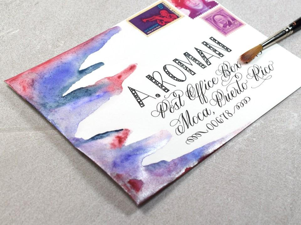Watercolor on Funky Envelope Art
