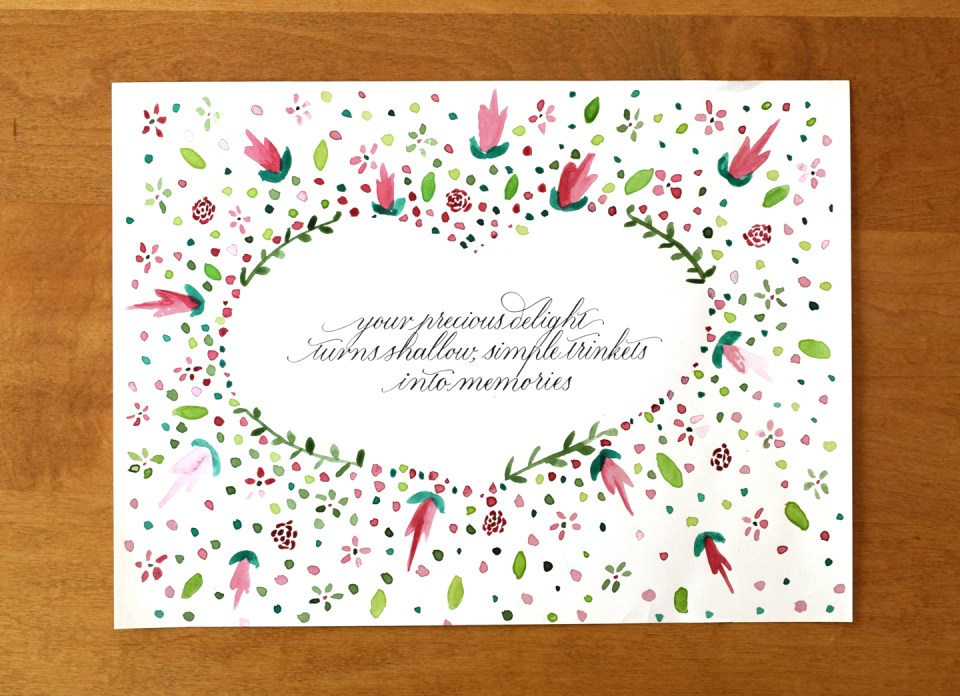 Precious Delight Calligraphy Quote Art by Kate of Olive & Reid