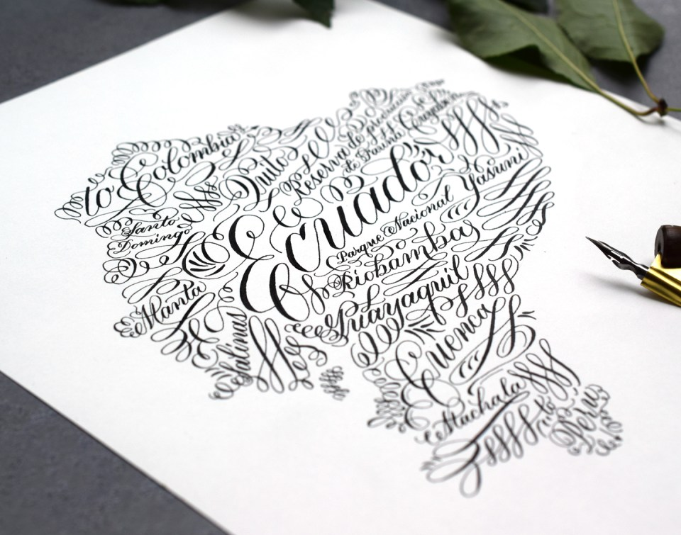 Flourished Calligraphy Country or State Art Tutorial