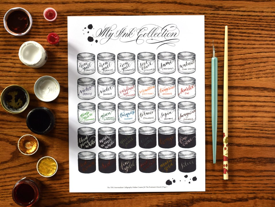 My Calligraphy Ink Collection from the Intermediate Modern Calligraphy Online Course