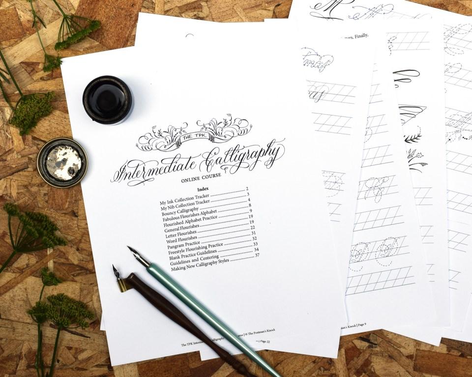 Intermediate Modern Calligraphy Online Course Worksheet