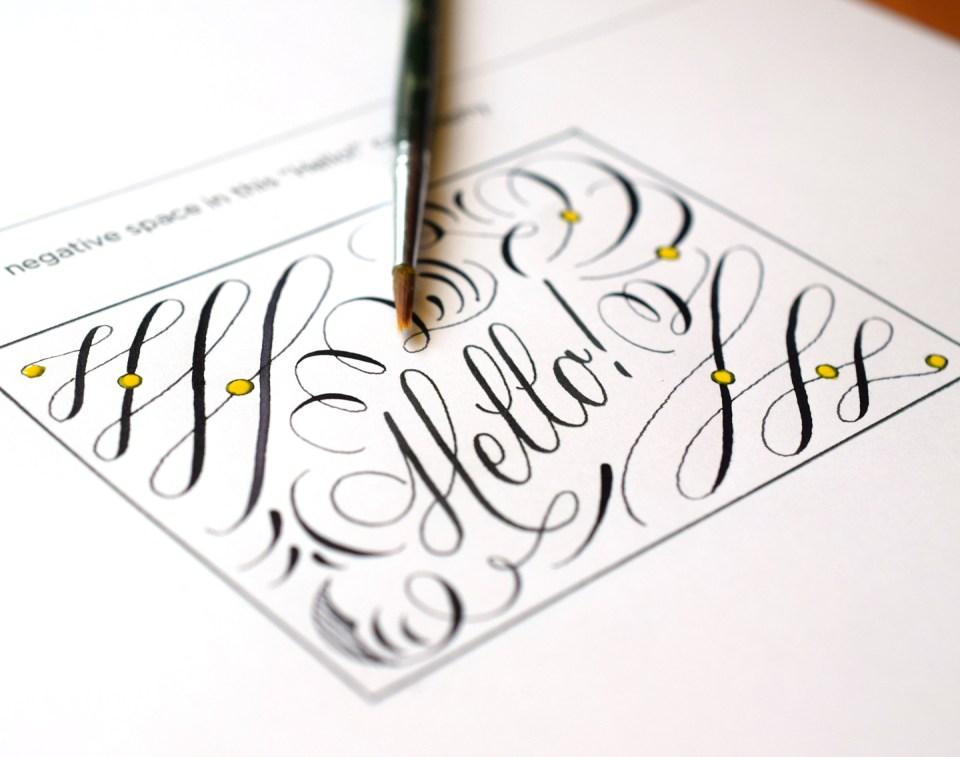 "Calligraphy Flourishes ""Hello"""