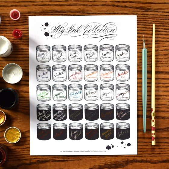 Among other things, the course has an Ink Collection page and a Nib Collection page to help you organize your supplies. A big part of being an intermediate calligrapher is knowing what nibs/inks to use for what project.
