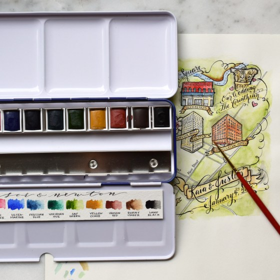 I used a set of 12 Winsor & Newton Cotman watercolors for three years after I started The Postman's Knock. I made many an illustrated watercolor map with them!