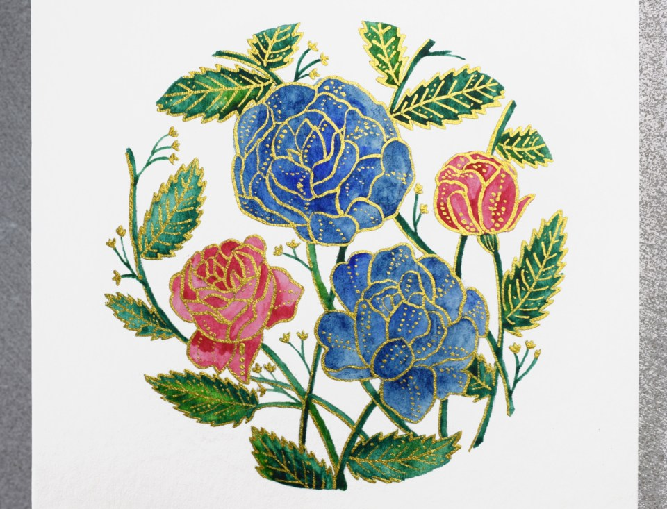 Adding Gold to the Floral Illustration