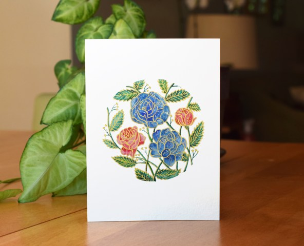Gorgeous Gold and Watercolor Flowers Tutorial | The Postman's Knock