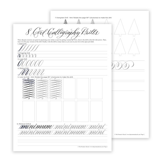 These printable calligraphy drills will help you to improve your dip pen skills and/or warm up before creating a calligraphy project!
