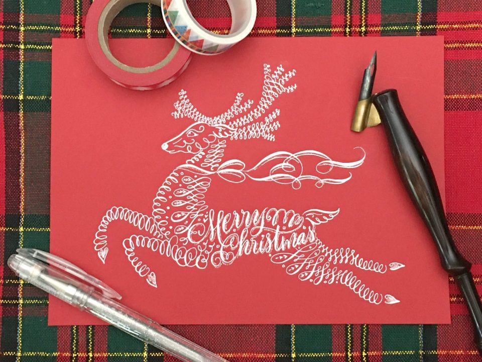 Flourished Calligraphy Reindeer Tutorial by Maureen Vickery