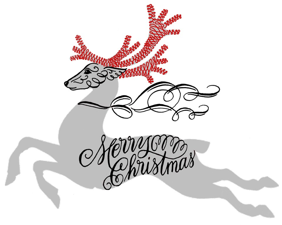 Flourished Calligraphy Reindeer Antlers