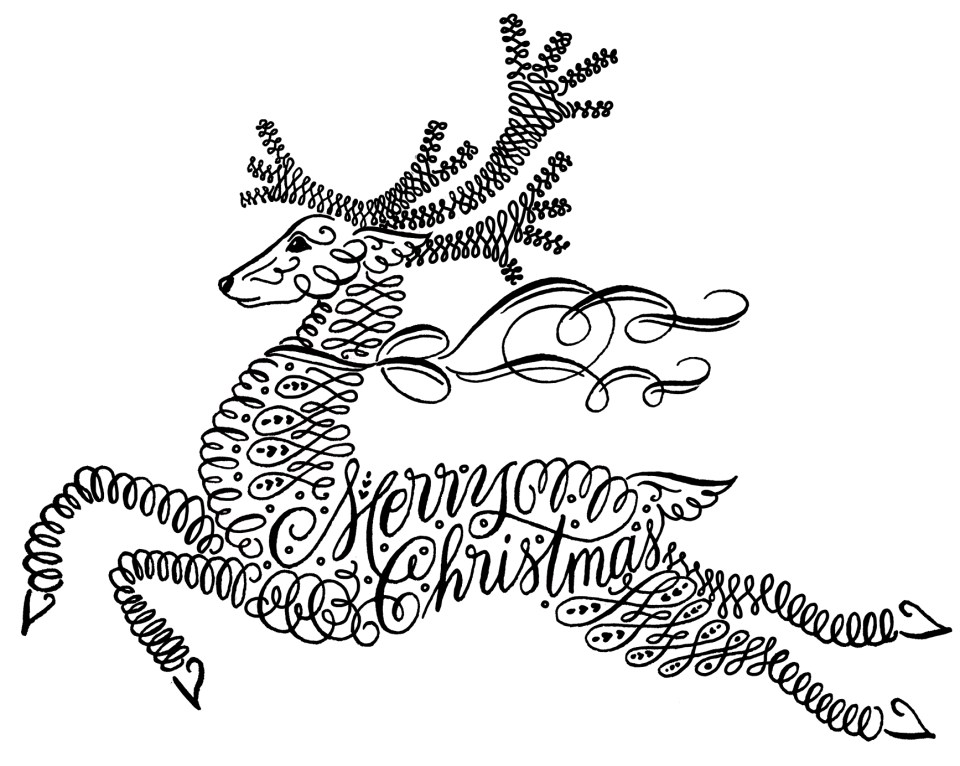 Flourished Calligraphy Reindeer
