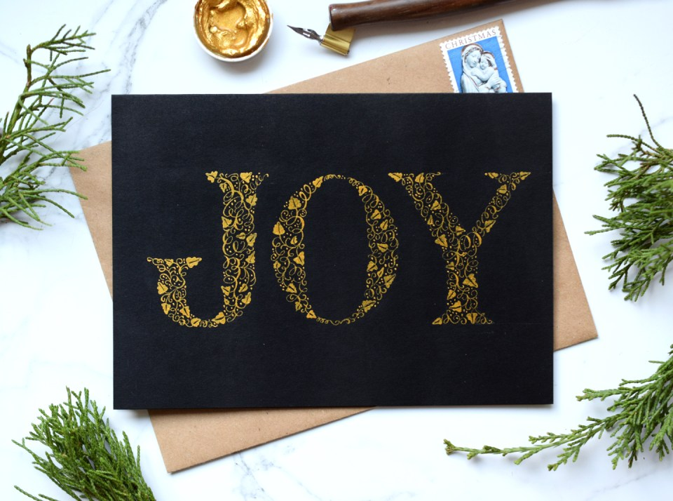 """Joy"" Elegant Gold Christmas Card Tutorial"