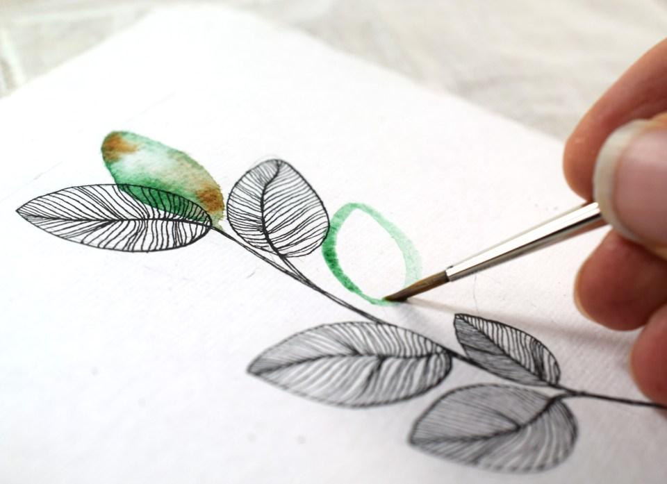 Adding Watercolor to the DIY Sympathy Card
