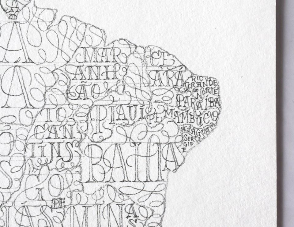 Brazil Lettering Map Draft