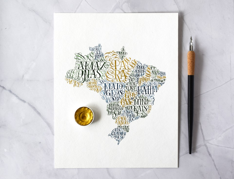 A Quick DIY Birthday Gift: Brazil Lettering Map
