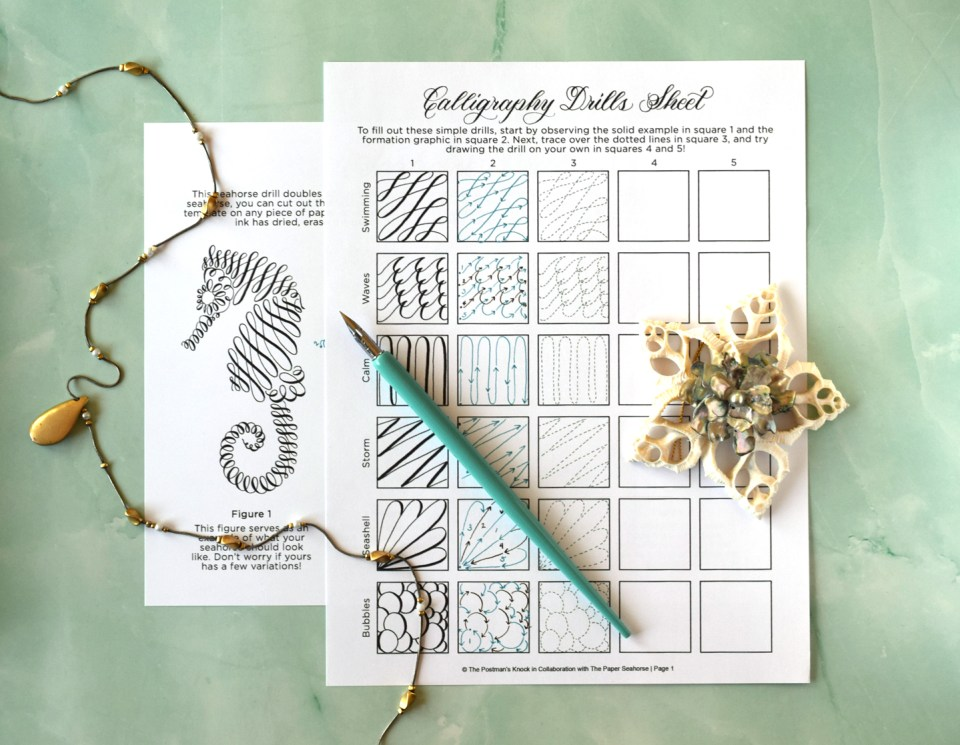 Seahorse-Themed FREE Calligraphy Drills