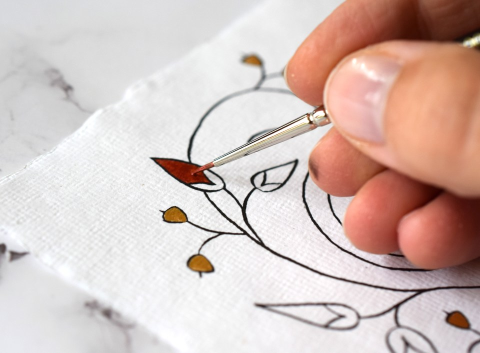 Adding Red Watercolor to the Botanical Illuminated Letter