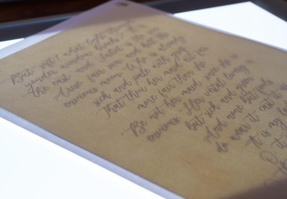Calligraphy Passage On a Light Box