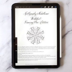 This worksheets lets you practice making calligraphy medallions with the convenience of your iPad.