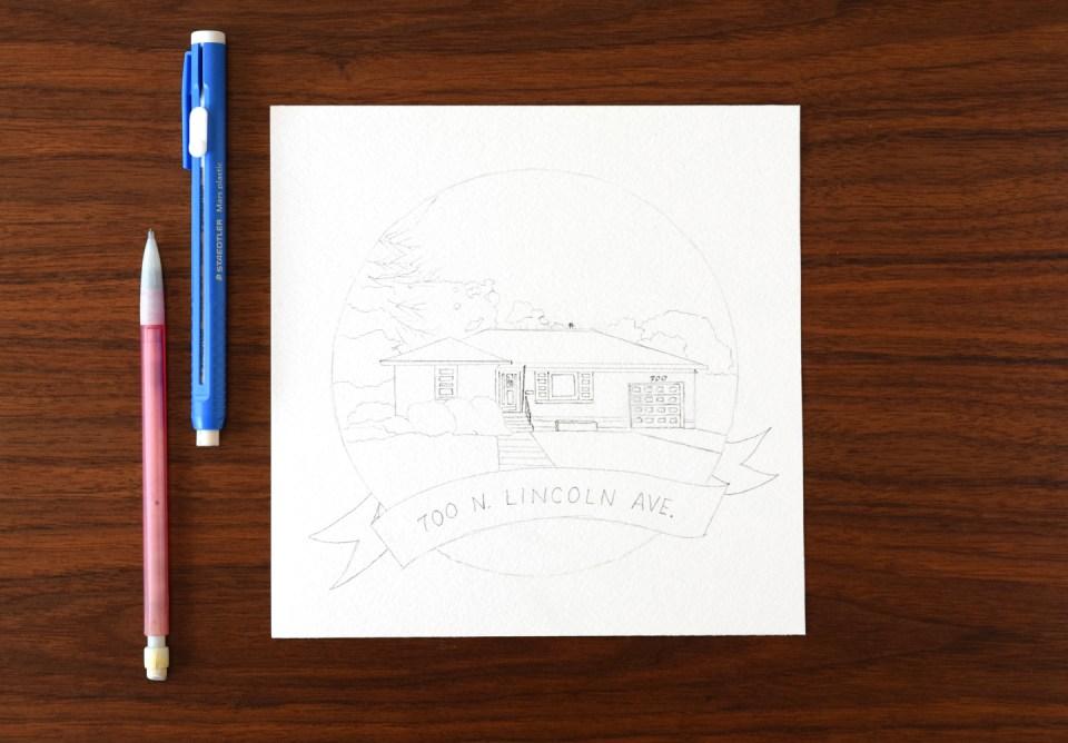 Pencil Draft of House Portrait