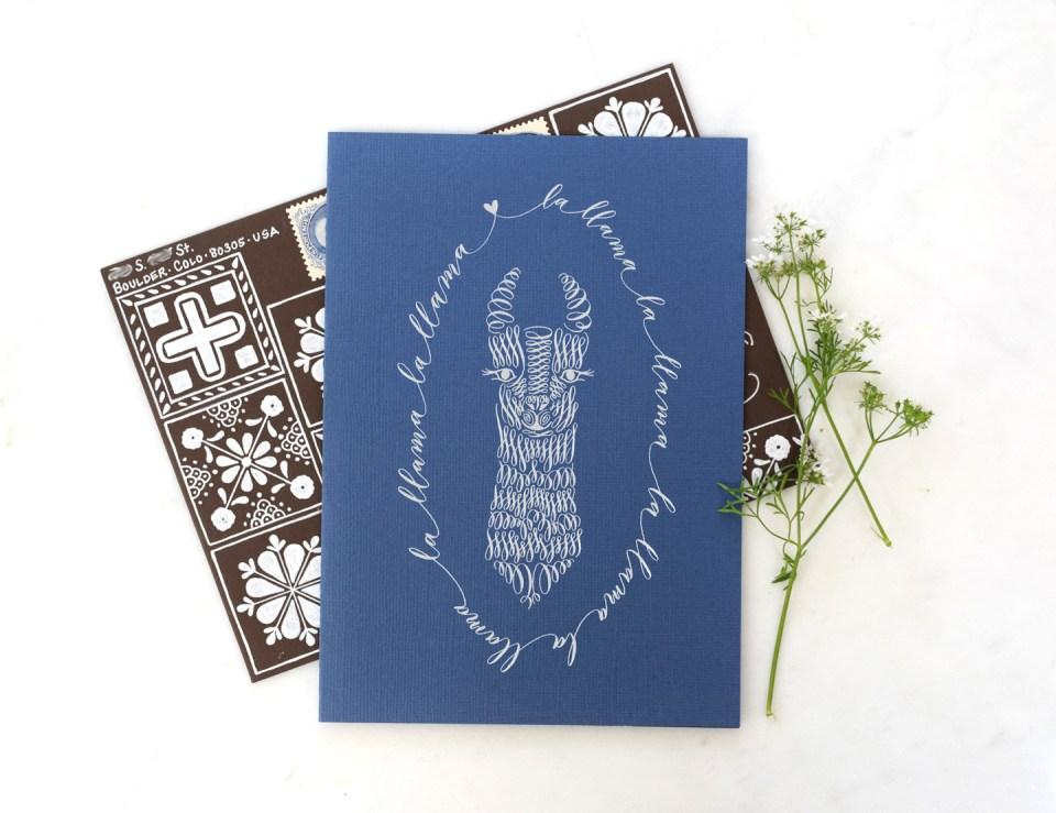 Llama-themed greeting card