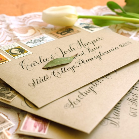 Iron gall ink is perfectly suited to both modern and traditional calligraphy styles. Look how gorgeous it looks on these wedding invitation envelopes!