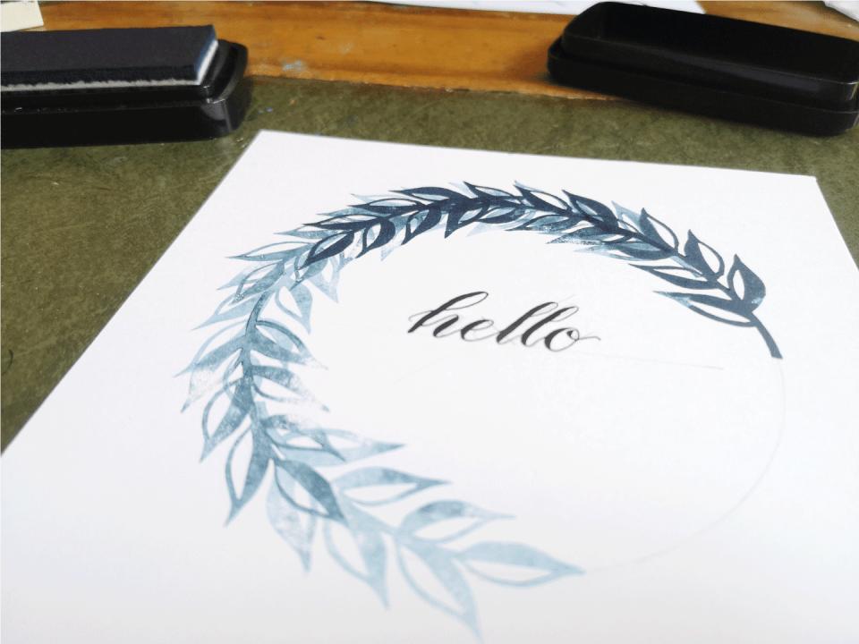Halfway done block printed leaf