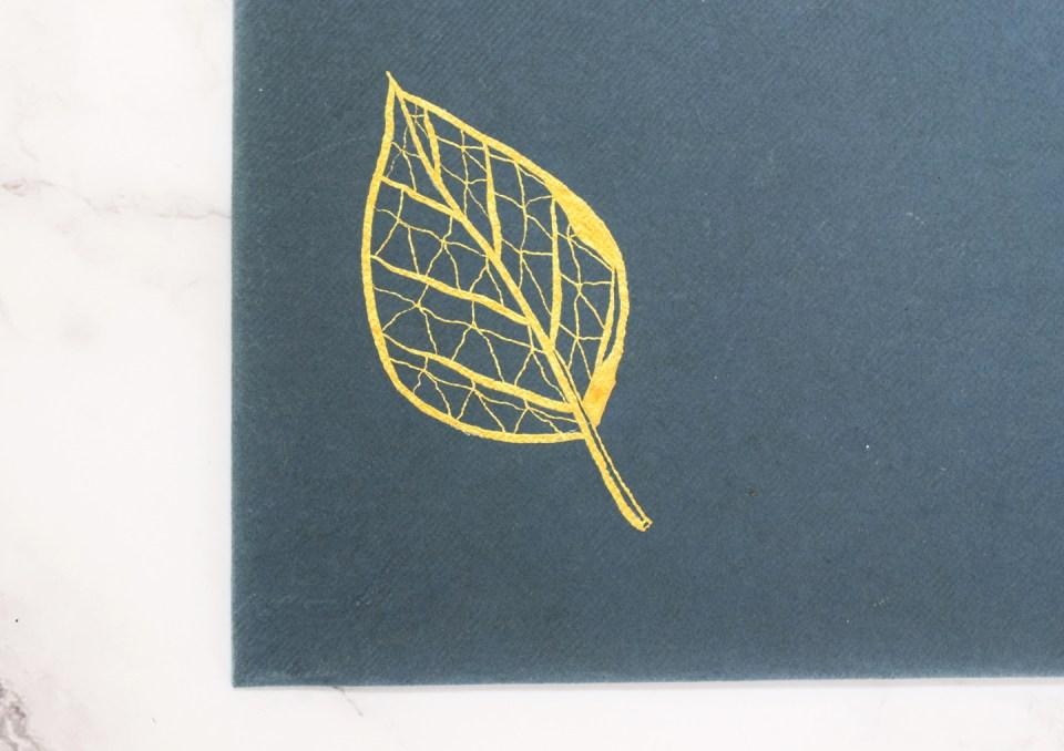 Gold Illustrated Leaf Outline