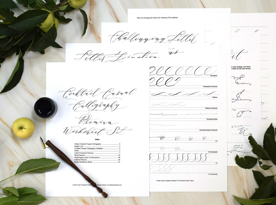 Cocktail Casual Calligraphy Worksheet