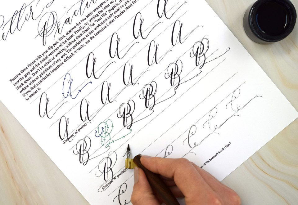 Writing Cocktail Casual letter formations