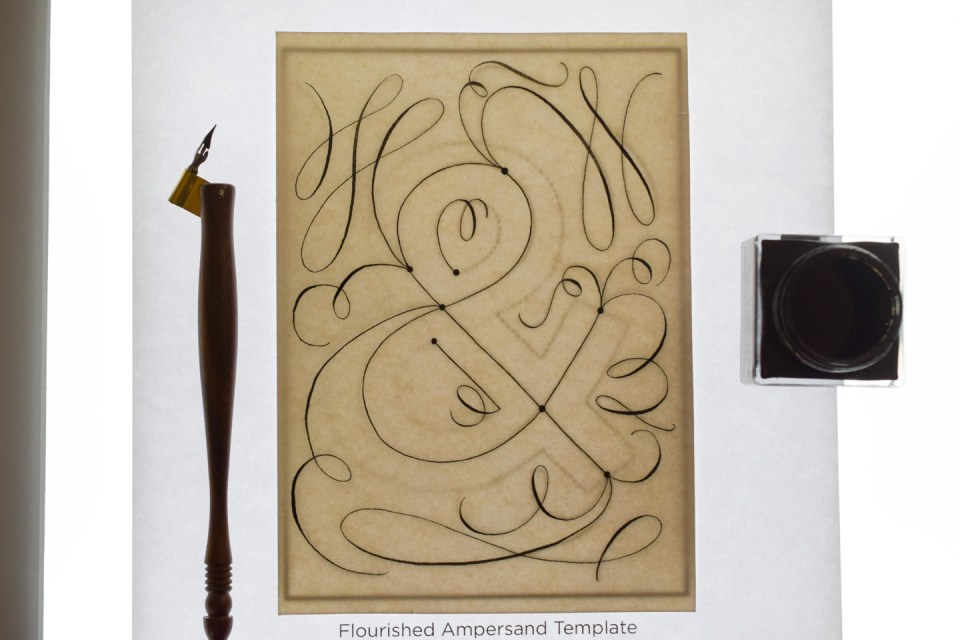 Flourished Ampersand Art on a Light Box