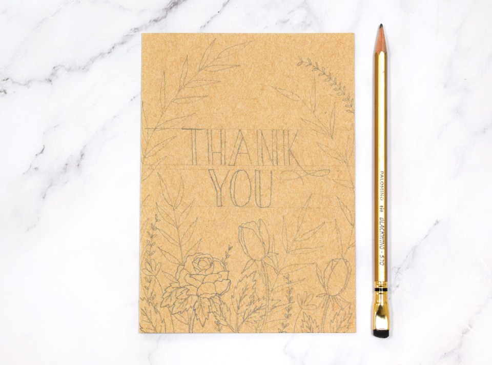 Pencil draft of floral watercolor thank you card