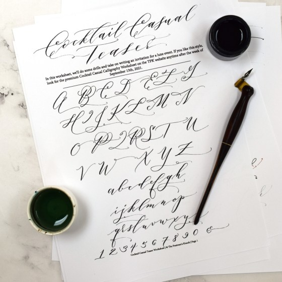 This worksheet will give you a fun taste of what it's like to create Cocktail Casual calligraphy.