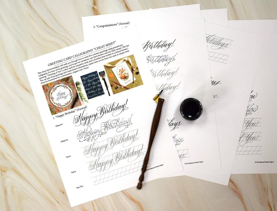Free Greeting Card Calligraphy Cheat Sheet/Worksheet