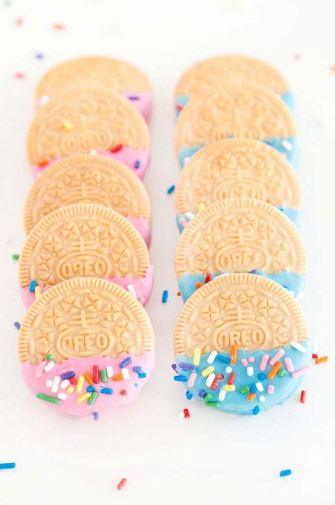 confetti oreos for gender reveal food ideas