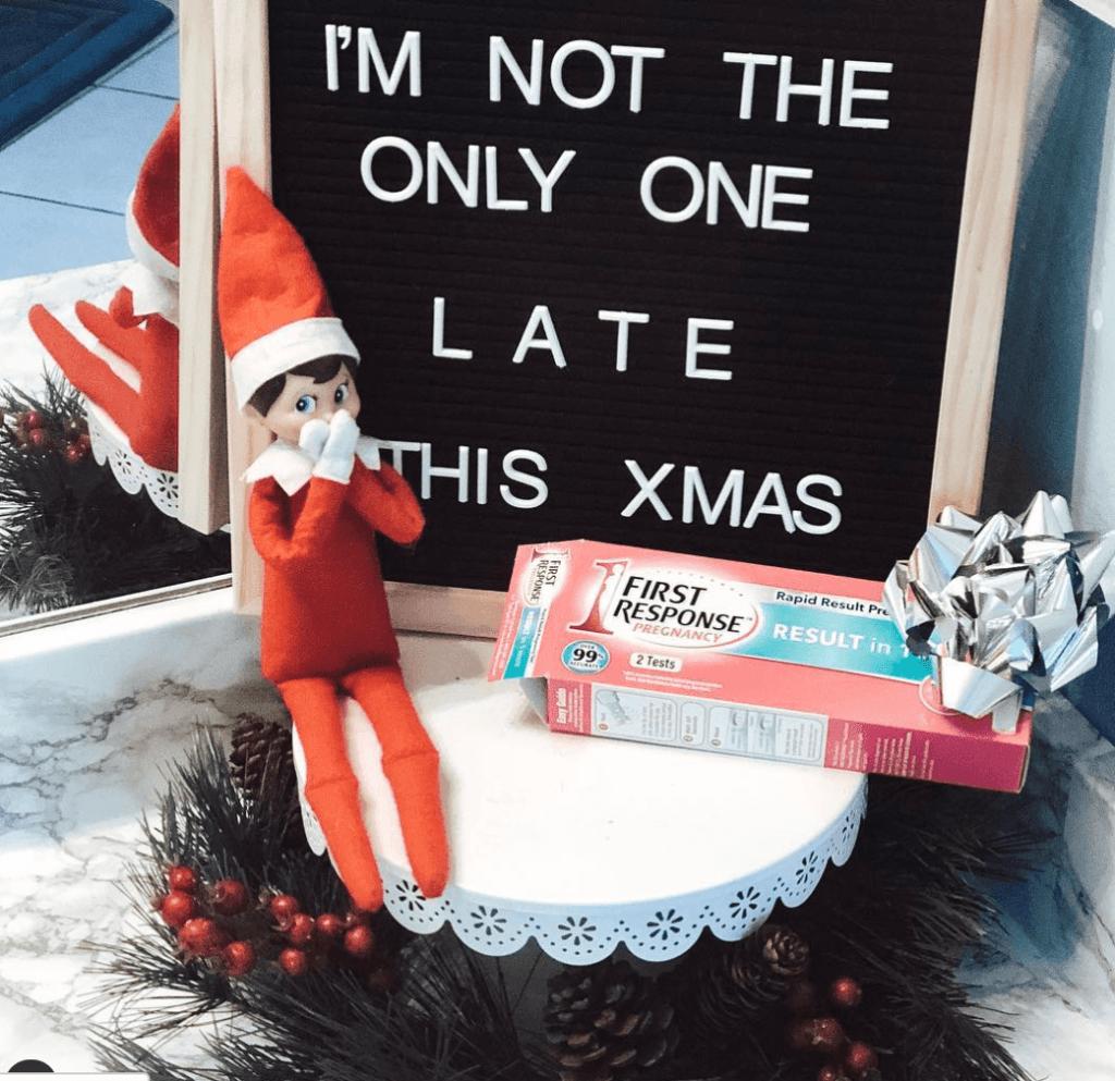 Christmas pregnancy announcement  late elf