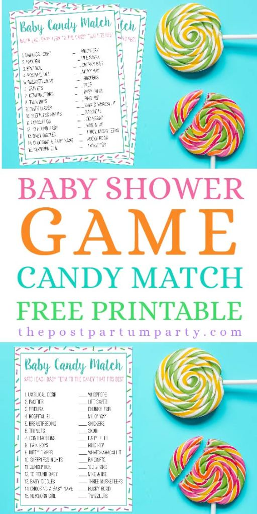 Use this free printable to play the candy match baby shower game at your next baby shower. This is a fun and easy game for guests of all ages!